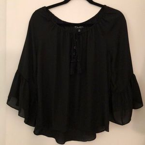 Off the shoulder black sheer bell sleeve top